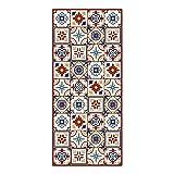 Alfombra Vinílica para Cocina, 180 x 80 cm, Baldosas de Colores, Fondo Beige, Alfombra de Vinilo Antideslizante y Lavable, Multiuso, ALV-038