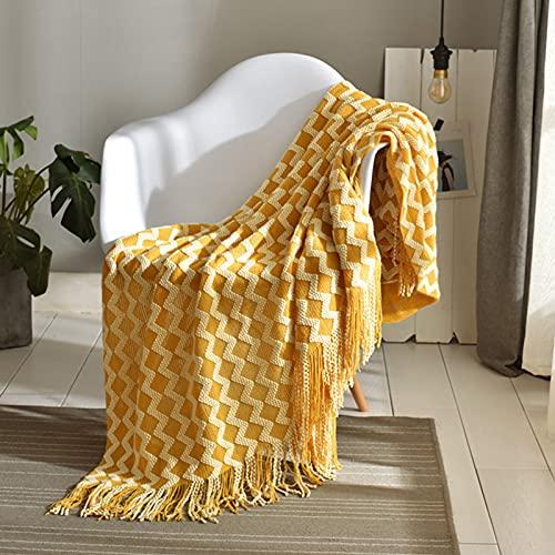 Qucover Kuscheldecke Strick Gestrickte Decke Strickdecke aus Mikrofaser mit Quasten 127x173cm Gelb Sofadecke Couchdecke Plaids Geeignet auch für Bett