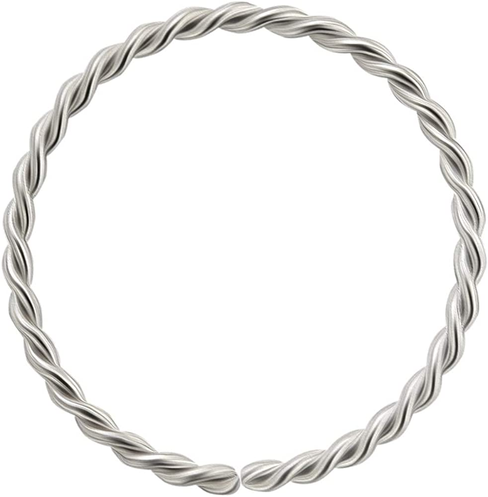 AtoZ Piercing 14KT Solid White Gold 22 Gauge (0.6MM) - 5/16 (8MM) Length Seamless Continuous Twister Hoop Nose Ring Nose Jewelry