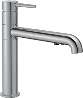 Delta Faucet Trinsic Single-Handle Kitchen Sink Faucet with Pull Out Sprayer and Diamond Seal Technology, Arctic Stainless...