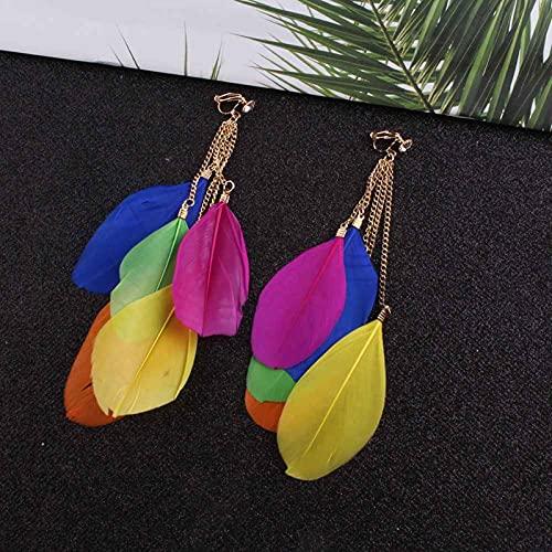 SALAN Joyería De Moda Bohemia, Pendientes De Clip De Plumas Multicolores, No Perforantes para Mujer, Pendientes De Plumas con Borlas Largas
