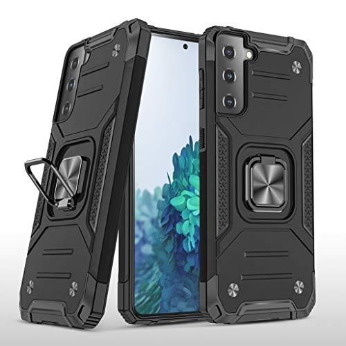 GOGME Funda para Samsung Galaxy S21+ 5G (S21 Plus) Delgado Rubber Caso, Estuche con 360 Anillo Soporte Coche Magnético Hard PC + Silicona TPU Bumper Híbrida Rugged Antigolpes Carcasa, Negro