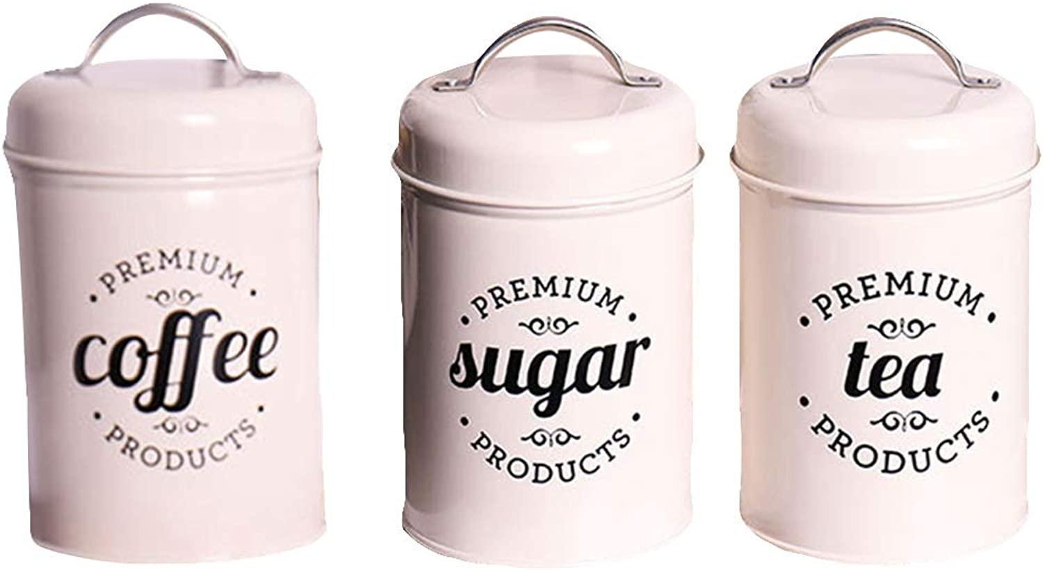 Super1798 3Pcs Set Household Tea Coffee Sugar Spice Candy Storage Canister Kitchen Jar Pot with Lid