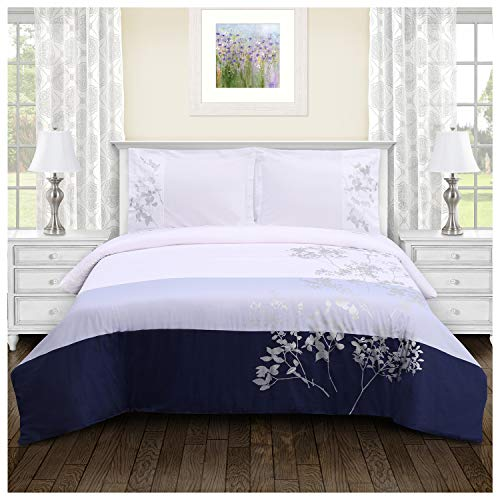 SUPERIOR 100% Cotton Duvet Cover Set - Soft, Embroidered...