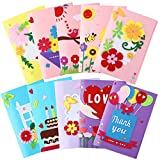 10 Pieces Greeting Card Making Kit Easter Funny Card Flower Thanks Heart Love DIY Handmade Greeting Card Supplies Art Crafts Making Accessories for Girls Boys Birthday Present Classroom Exchange