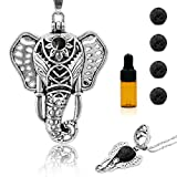 RoyAroma Essential Oil Diffuser Necklace, Elephant Aromatherapy Necklace, Antique Silver Pendant Locket, Stainless Steel Chain