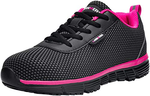 Zapatillas de Seguridad Mujer Cómodas,LM170130 S1 SRC Zapatos de Trabajo con Punta de Acero Ultraligero Transpirables 39 EU,SRC Rosa Negro