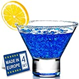 Crystalia Stemless Martini Glasses Set of 4, Cocktail Cosmopolitan Margarita Set, Small Desert Cups, Cute Shrimp Cocktail Glass for Martini Lovers, Cool Mini Cocktail Shot Glasses, 7 3/4 Ounces