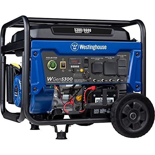 Westinghouse WGen5300 Portable Generator with Remote Electric Start and 120/240 Volt Selector, 5300 Rated Watts & 6600 Peak Watts Gas Powered, CARB Compliant, RV and Transfer Switch Ready