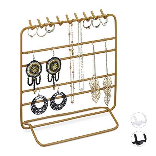 Relaxdays Expositor para joyas, collares, pendientes, pulseras, organizador de joyas, 21 x 20 x 10 cm, dorado, 1 unidad