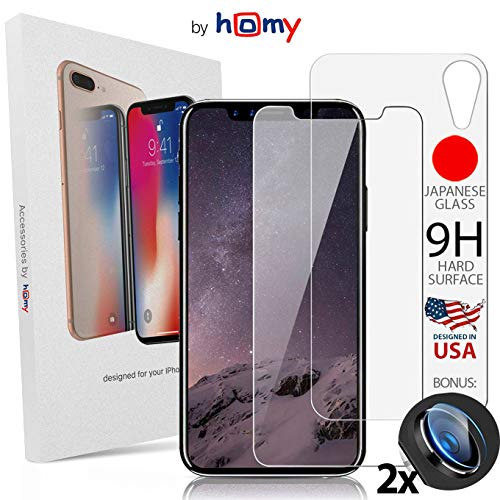 Homy Compatible Screen Protector iPhone Xr (6.1 inch) - Full Glass Protection: 2X Front Tempered Glass + Back Glass + 2X Camera Cover - Premium 9H UHD Japanese Glass, Case Friendly Size