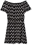 Jones New York Women's Off The Shldr Print Elas WST Fit &Flare, Black Combo, 10
