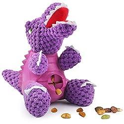 7. Idepet Squeaky Treat Dispensing Dinosaur Dog Toy