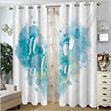 ScottDecor Gender Reveal Insulated Curtain for Living, Dining Room, Bedroom Its A Boy Quote on Grunge Pastel Background with Brushstroke Effect Turquoise and Blue 54' W x 108' L
