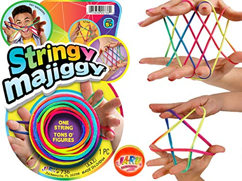 JA-RU Cats Cradle String Game Fingers Fun with 1 Collectable Bouncy Ball Family Hand Games for Kids. Finger Rope Toy. 736-1slp