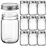 Regular Mouth Glass Mason Jars, 12 Ounce (10 Pack) Canning Jars with Silver Metal Airtight Lids for...