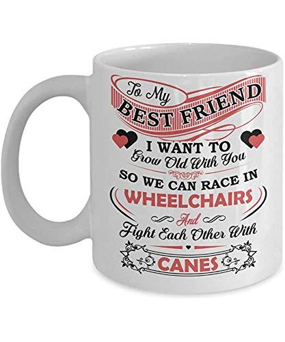 Koffiemok, vriendin van mijn beste vrienden Race in rolstoelen vechten met stokken - 11 Oz witte mokken voor grote thee, koffie - geweldig cadeau voor vrouwen - perfect cadeau voor damesdag, verjaardag