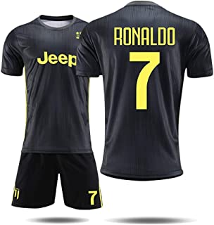XB21HG Football Uniforms - Juventus Football Club C Ronaldo 7# Jersey, 18-19 Two-Player Football Uniform Suit Training Suits Uniforms Football Jackets Men and Boys Football T-Shirts and Shorts, Black