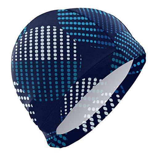 Gorra de baño Blue Dot Matrix FigurePersonality Customization Swimming Skull Hat Cover Ears Comfortable Bathing Cap,3D Ergonomic Design