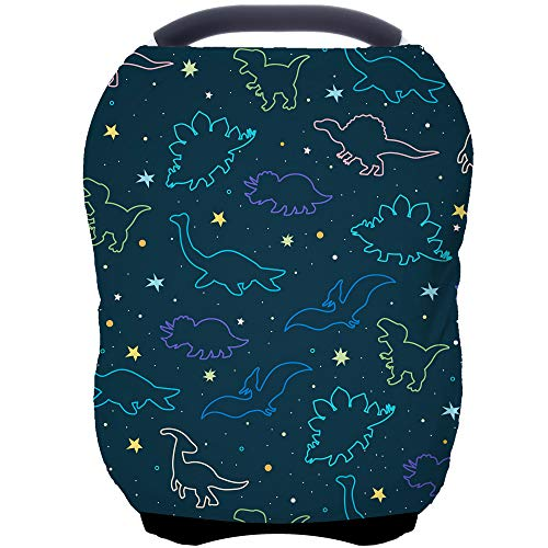 Car Seat Covers Canopy Cover - Multi-use Nursing Cover Carseat Canopy, Breathable Breastfeeding Cover, Car Seat Covers for Bbies, Boys & Girls Shower Gifts (Dark Blue Dinosaur)