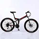 Bicicleta Plegable De Estudiantes, Bicicletas De Ciclismo De Asiento Ajustable Bicicleta Plegable De Freno De Doble Disco Para Hombres Mujeres - Estudiantes Y Viajeros Urbanos,A,26 inch 24 speed