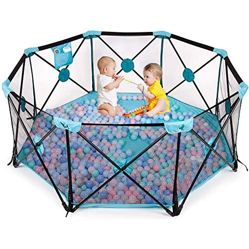 APAN Baby Laufstall,Faltbarer und tragbarer Spielplatz für Kleinkinder,Aktivitätscenter mit atmungsaktivem Netz und Aufbewahrungstasche,blau