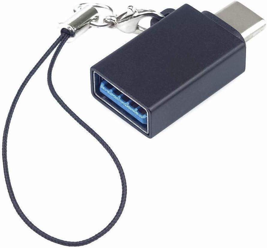 Premium Cord - Adaptador USB-C a USB 3.0, OTG, USB 3.1 Tipo C Macho USB 3.0 Tipo A Hembra, Color Negro con Ojal para Colgar