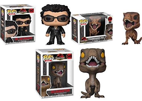 Funko POP! Jurassic Park: Dr Ian Malcolm + Tyrannosaurus Rex + Velociraptor NEW