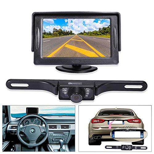 "Noiposi Backup Camera and Monitor kit for Car Universal Waterproof Night Vision Linsence Plate Rear View Camera and 4.3"" TFT LCD Rear View Monitor (Monitor and Camera)"