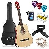 Ashthorpe 38-inch Beginner Acoustic Guitar Package (Natural), Kids Basic Starter Kit w/Gig Bag, Strings, Strap, Tuner, Pitch Pipe, Picks