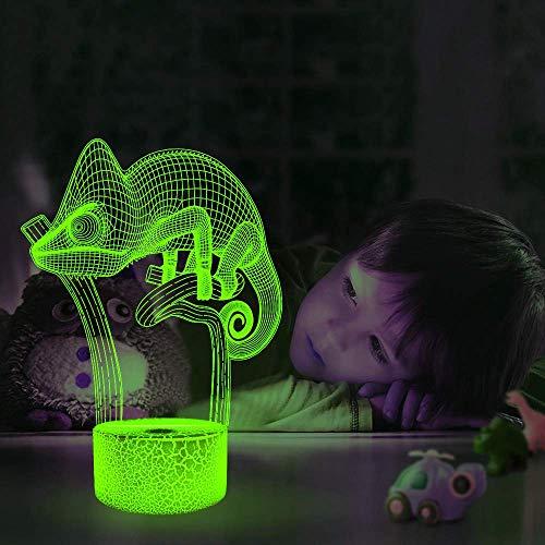 Optische Täuschung 3D Chamäleon Nacht Licht 7 Farben Andern Sich USB Adapter Touch Schalter Dekor Lampe LED Lampe Tisch Kinder Geburtstag Weihnachten Geschenk