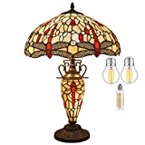Tiffany Lamp W16H24 Inch (3 LED Bulb Included) Amber Stained Glass Dragonfly Lampshade Antique Coffee Table Desk Night Reading Light Base S557 WERFACTORY Lamps Living Room Bedroom Nightstand Gifts