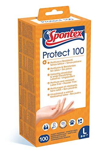 Spontex Protect engångshandskar av vinyl, opuderad och latexfri, mångsidig, i praktisk dispenserbox, storlek L, förpackning med 100