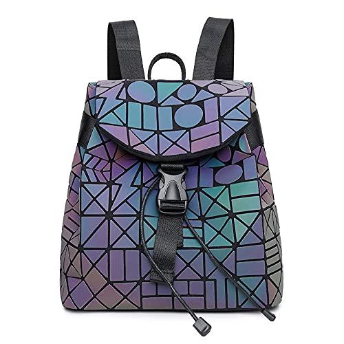 QIANJINGCQ La nueva mochila colorida para mujer, mochila de rombo geométrico de moda para estudiantes, mochila escolar de todo fósforo, bolsa de cambio de color luminoso Symphony