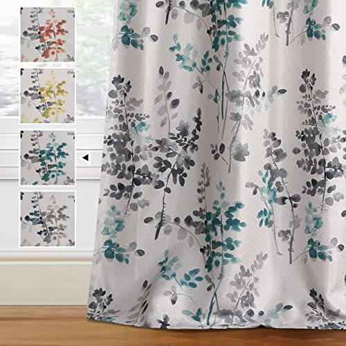 H.VERSAILTEX Linen Blackout Curtains 63 Inches Long Room Darkening Burlap Effect Linen Curtain Draperies for Living Room/Bedroom Grey and Turquoise Vintage Classical Floral Printing Grommet 2 Panel