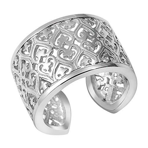MATERIA Schmuck 925 Silber Ring breit Stern - Silber Damen Ring Herz in Gr. 52-60 / Größe verstellbar #SR-49