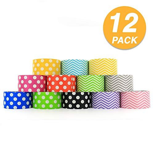RamPro Chevron & Polka Dot Styles Heavy-Duty Duct Tape | Assorted Colors Pack of 12 Rolls, 1.88-inch x 5 Yard.