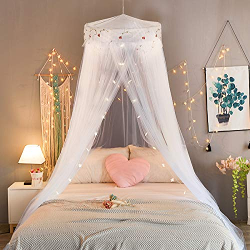 Jeteven Girl Bed Canopy Lace Mosquito Net for Girls Bed, Princess Play Tent Reading Nook Round Lace Dome Curtains Baby Kids Games House (White)