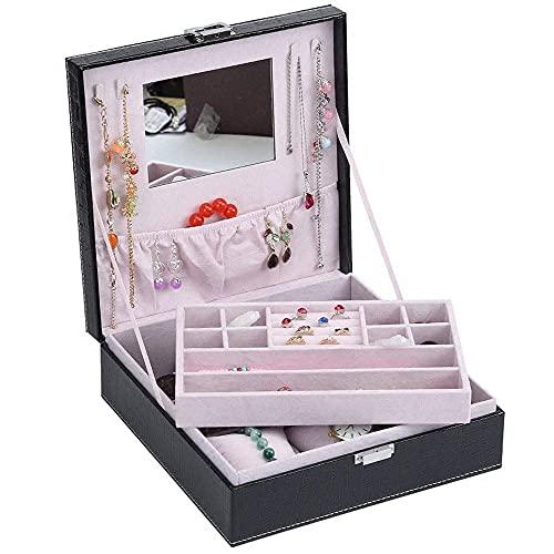 WMYATING Caja de joyería del Soporte de Pendiente - 2 Capas - Espejo Grande - diseño de Cuero - Negro - Organizador de joyería para Mujeres y niñas - Soporte para Pendiente Collar y Pulsera