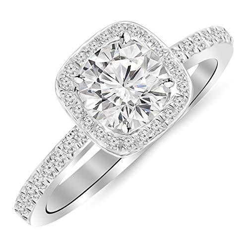 14KT White Gold 1 TCCW Classic Halo Style Cushion Cut Diamond Engagement Ring Wedding Anniversary Band Ring For Women 0.75cts Center (Color H-I Clarity- I1/I2)