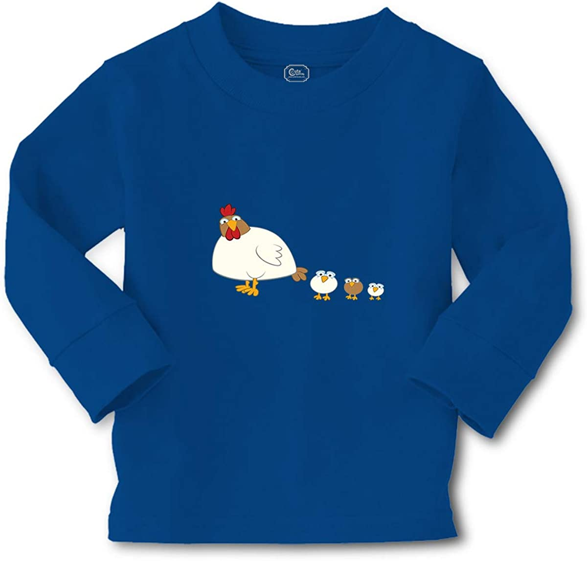 Kids Long Sleeve T Shirt Chicken and 3 Chicks Animals Farm Boy & Girl Clothes