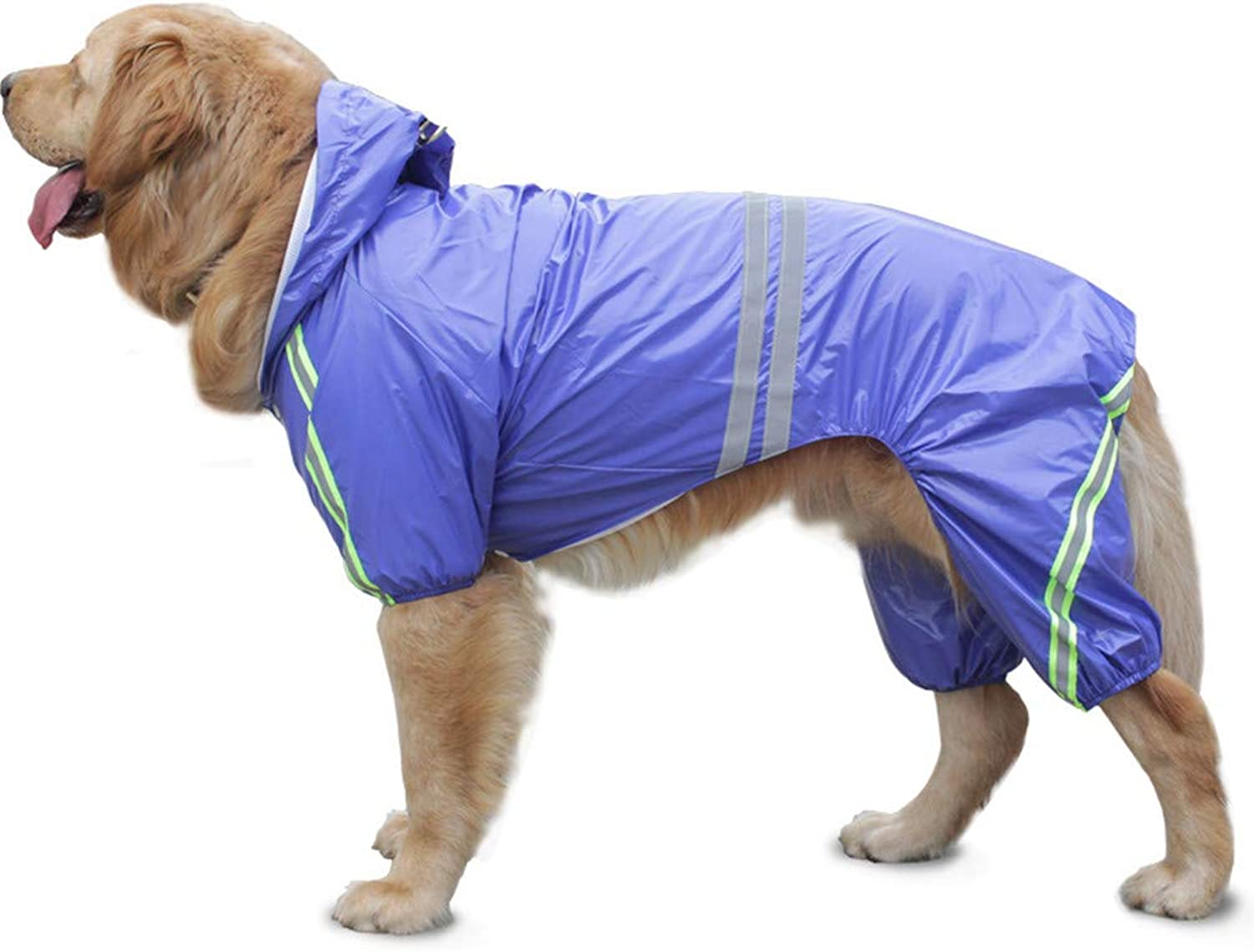 Pet Dog Raincoat Rain Jacket with Hood and Harness Hole for Small and Medium Large Dogs (Bust3492cm)