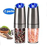 Pepper Grinder Set Automatic Pepper Gravity Electric Salt Mill Grinder Battery-Operated with...