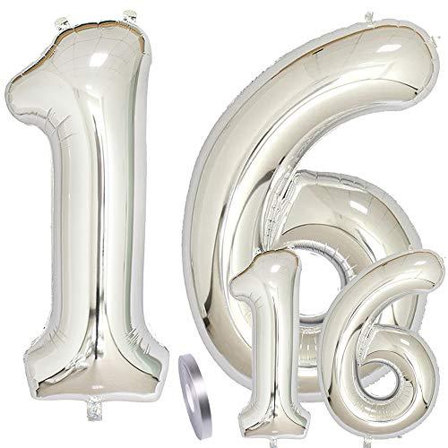 Luftballons Zahl 16. Geburtstag XXL Silber,Riesen Helium Folienballon Figuren in 2 Größen 40