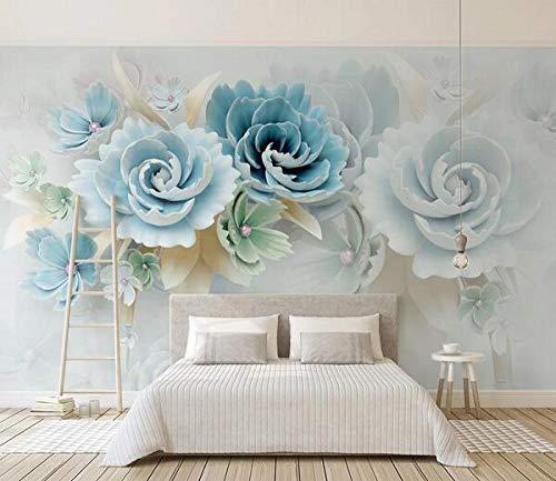 3d estéreo relieve flor azul fresco mural personalizado foto papel pintado sala de estar dormitorio*350cmx245cm