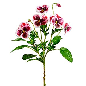15″ Silk Pansy Flower Stem -White/Burgundy (Pack of 12)