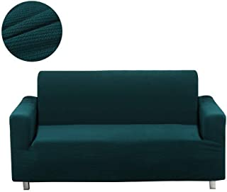 Homaxy Jacquard Stretch Sofa Slipcovers, Vintage Thick Stripe Furniture Couch Fitted Protectors Cover, Extra Large 4 Seater XL Sofa Dark Green (Upgraded)