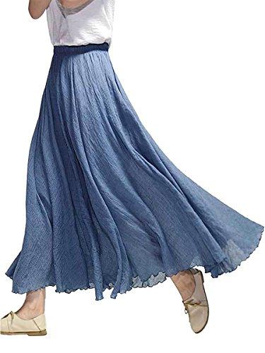 Damen Baumwolle Lange Rock Tellerrock Maxirock Doppelt Genäht Elastischer Bund - Einfarbig Niagara Blau Länge 95cm