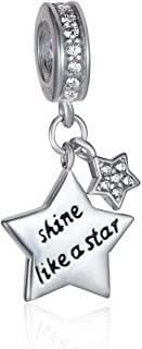 ZIYOU 925 Sterling Silver Shine Like Star Dangle Women Jewelry Charms Bead Suit European Bracelet The Guardian Charm Family Star for Girl Gift Fit Most European Bracelets