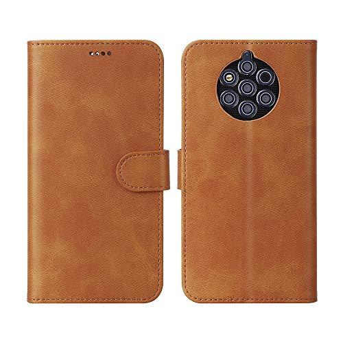 CRESEE Cover Nokia 9 PureView, Flip Folio Case Pelle Portafoglio Custodia per Nokia 9 PureView [3× Slot Carte] [Chiusura Magnetica] [Funzione Stand]-Marrone Giallo